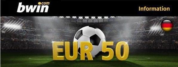Neukunden erhalten bei bwin einen 100% bis 50€ Bonus auf die erste Einzahlung