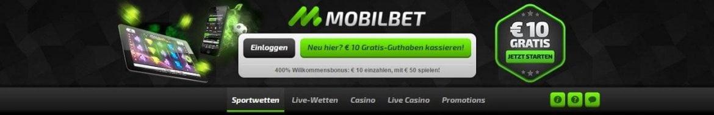 Bei Mobilbet erhalten Neukunden neben dem regulären Einzahlungsbonus einen No-Deposit-Bonus in Höhe von 10€