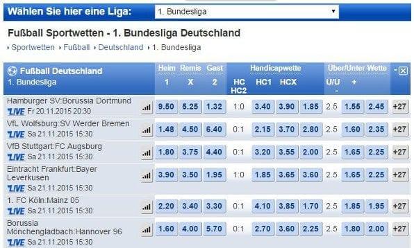 Beispielhafte Bundesligaquoten des Buchmachers Mybet