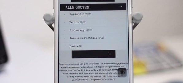 Auch mobil ist fast das gesamte Wettangebot von Superlenny verfügbar