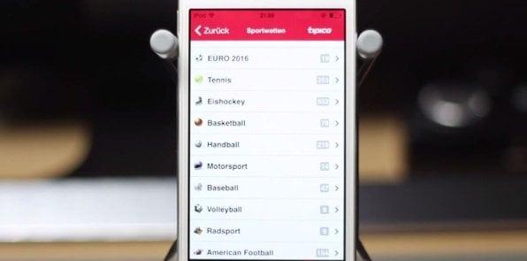 Auch mobil: Großer Wettmarkt mit täglich weit über 10.000 Einzelwetten