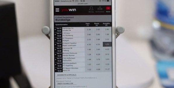 Beispielhafte Fußball Wette im mobilen Livecenter von Youwin