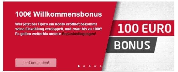 Tipico offeriert einen 100% Bonus bis zu 100 €.