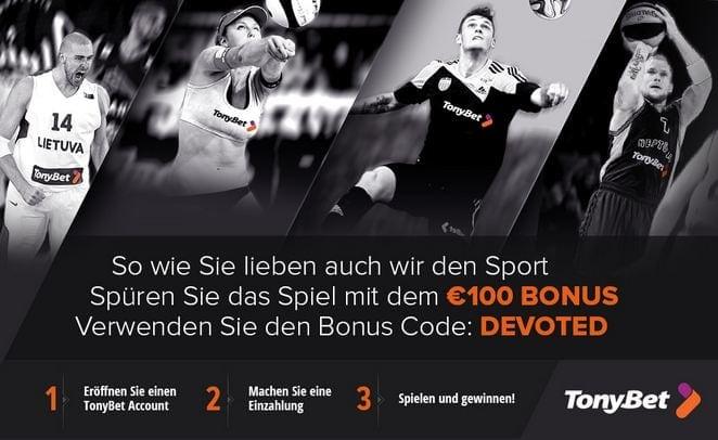 Bis zu 100 Euro Bonus warten bei Tonybet auf jeden neuen Kunden!