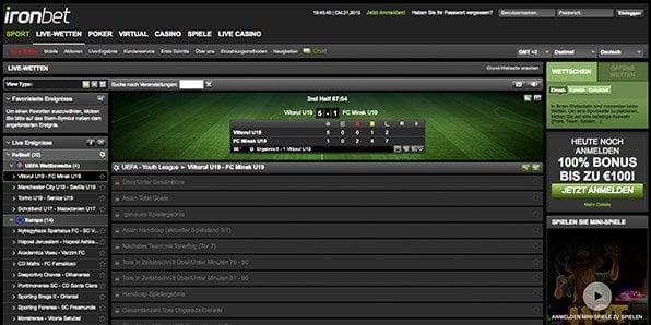 Das Livewettenangebot von Ironbet ist hauptsächlich auf Fussball ausgelegt