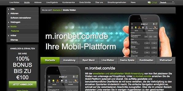 Das Wettangebot von Ironbet steht auch mobil zur Verfügung