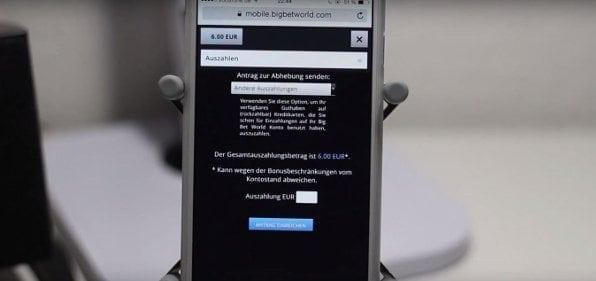 Auch mobil erfolgt die Auszahlung bei Big Bet World unkompliziert und schnell!
