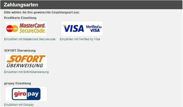 Tipp3 bietet eine geringe Auswahl an Zahlungsmöglichkeiten