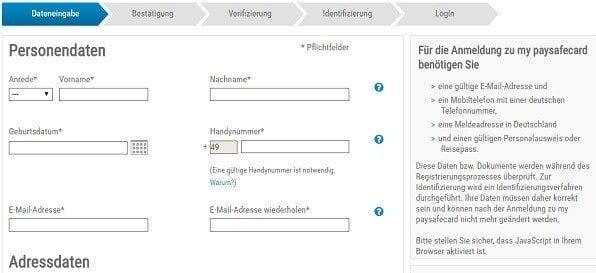 Paysafecard Ohne Registrierung
