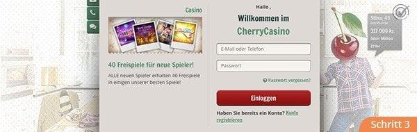 Cherry Casino Anmeldung am Account