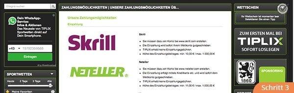 Tiplix Zahlungsmethoden
