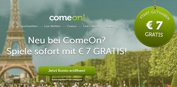 7 Euro Bonus ohne Einzahlung bei ComeOn
