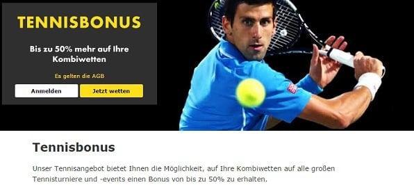 Tenniswetten Wettbonus bei bet365