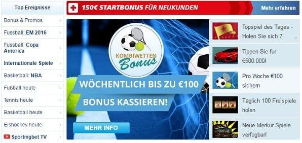 Sportingbet bietet Bonus ohne Einzahlung