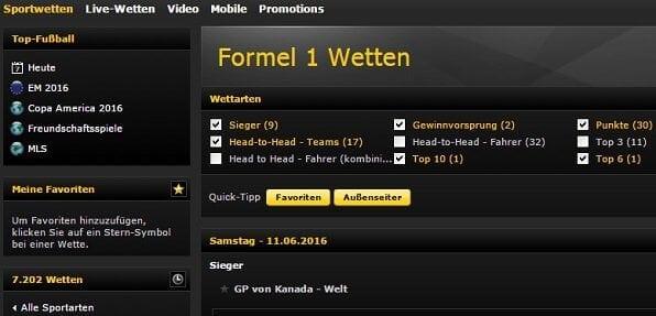Formel 1 Wetten bei bwin