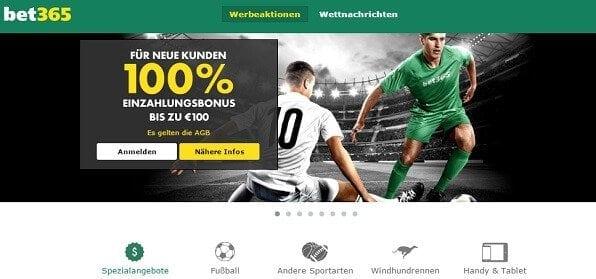 Bis zu 100 Euro Wettbonus bei bet365