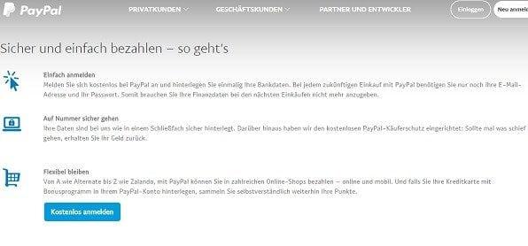Paypal funktioniert kinderleicht