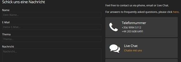 Live-Chat kostenlos verfügbar