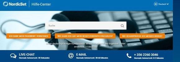 24/7 Kundenservice bei NordicBet