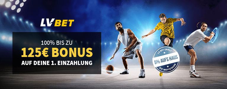 LVBet Sportwetten Bonus 100% bis zu 125€ Einzahlungsbonus