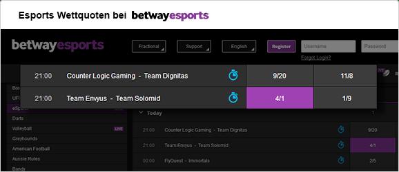 eSports Wettquoten betway