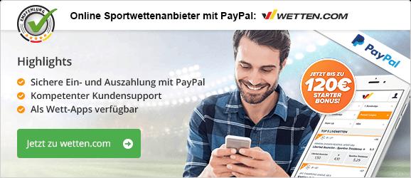 Sportwettenanbieter mit PayPal Empfehlung wetten.com