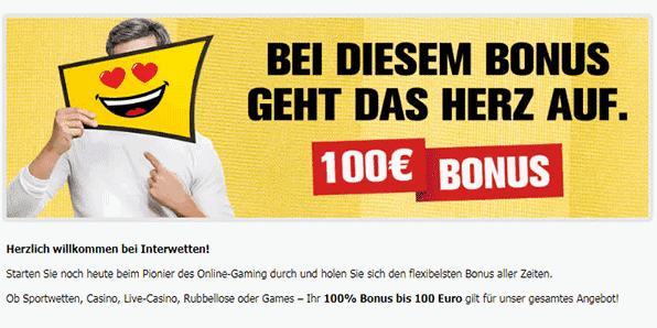 Interwetten Bonus - 100% bis zu 100€