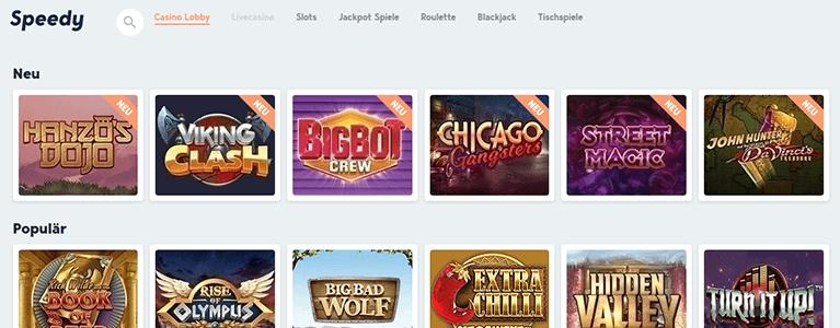 Ein Speedy Bet Casino ist ebenfalls im Angebot