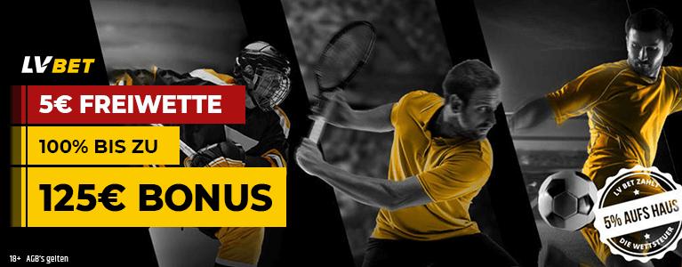 LV Bet Sport Bonus 125 euro 5 Euro Freiwette