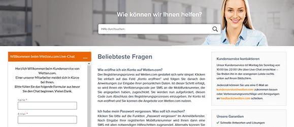 wetten.com Casino Kundensupport